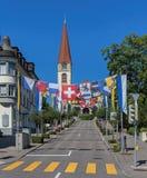Οδός που διακοσμείται με τις σημαίες Στοκ Φωτογραφίες