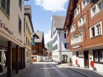 Οδός που διασχίζει το χωριό Andermatt Στοκ Εικόνες