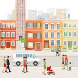 Οδός πόλεων με τους ανθρώπους και το αυτοκίνητο Στοκ Φωτογραφία