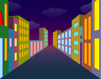 Οδός πόλεων νύχτας Στοκ Εικόνες