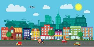 Οδός πόλεων σε ένα επίπεδο σχέδιο Στοκ φωτογραφία με δικαίωμα ελεύθερης χρήσης