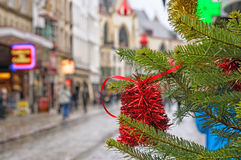 Οδός πόλεων στις ημέρες των Χριστουγέννων Στοκ Εικόνες