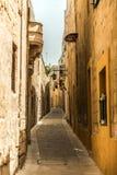 Οδός σε της Μάλτα Mdina στοκ εικόνες