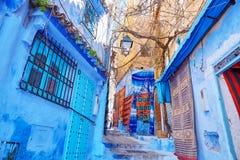 Οδός σε Medina Chefchaouen, Μαρόκο Στοκ Φωτογραφία