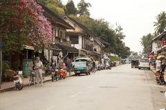 Οδός στην παλαιά πόλη Luang Prabang Στοκ Φωτογραφία