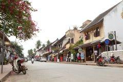 Οδός στην παλαιά πόλη Luang Prabang Στοκ Εικόνες