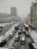 Οδός στη ισχυρή χιονόπτωση Στοκ εικόνες με δικαίωμα ελεύθερης χρήσης