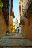 Οδός στο ισπανικό χωριό στο Montjuic στη Βαρκελώνη Στοκ Εικόνες