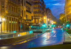 Οδός στο San Sebastian το βράδυ Ισπανία Στοκ εικόνες με δικαίωμα ελεύθερης χρήσης