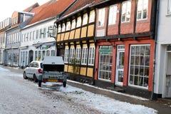 Οδός της παλαιάς πόλης Ribe, Δανία, Ευρώπη τον Ιανουάριο του 2016 Στοκ φωτογραφία με δικαίωμα ελεύθερης χρήσης