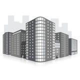 Οδός της πόλης με τα κτίρια γραφείων και refle Στοκ εικόνα με δικαίωμα ελεύθερης χρήσης