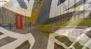 Οδός του δυτικού Μπέρμιγχαμ υπόλοιπου κόσμου ναών που συνδυάζεται με τη σημαία του Union Jack Στοκ φωτογραφία με δικαίωμα ελεύθερης χρήσης