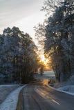 Οδός το χειμώνα στοκ εικόνα