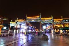 Οδός Qianmen η παλαιά οδός αγορών τη νύχτα Στοκ εικόνες με δικαίωμα ελεύθερης χρήσης