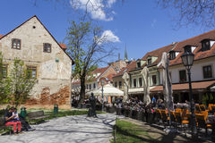 Οδός Tkalciceva στην πρωτεύουσα του Ζάγκρεμπ της Κροατίας στοκ φωτογραφίες με δικαίωμα ελεύθερης χρήσης