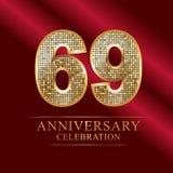 69ο ύφος disco επετείου ετών logotype 69 ελεύθερη απεικόνιση δικαιώματος