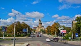 Ο Annunciation καθεδρικός ναός timelapse hyperlapse, Kharkov, Ουκρανία απόθεμα βίντεο