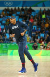 Ο Carmelo Anthony της ομάδας Ηνωμένες Πολιτείες θερμαίνει για την αντιστοιχία καλαθοσφαίρισης ομάδας Α μεταξύ ομάδα ΗΠΑ και Αυστρ Στοκ φωτογραφία με δικαίωμα ελεύθερης χρήσης