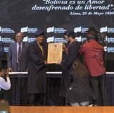 Ο Evo Morales Ayma, Πρόεδρος του πολυεθνικού κράτους της Βολιβίας, παραδίδει μια ομιλία στοκ φωτογραφία