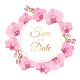 Ο floral γάμος στεφανιών phalaenopsis ορχιδεών προσκαλεί διανυσματική απεικόνιση