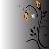 Ο Floral κίτρινος Μαύρος υποβάθρου στοκ εικόνα με δικαίωμα ελεύθερης χρήσης