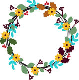 Ο Floral κύκλος με βγάζει φύλλα, βλαστάνει και ανθίζει Στοκ φωτογραφία με δικαίωμα ελεύθερης χρήσης