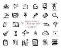 Ο Hand-drawn καθορισμένος Μαύρος εικονιδίων σχολικών εργαλείων σκίτσων στο άσπρο υπόβαθρο διανυσματική απεικόνιση