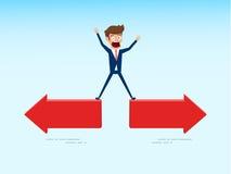 Ο Indecisive επιχειρηματίας επιλέγει το σωστό τρόπο κατεύθυνσης Η έννοια ταραγμένου επιλέγει τη σωστή πορεία ελεύθερη απεικόνιση δικαιώματος