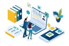 Ο Isometric διευθυντής ωρ., υπηρεσία για να βρεί τους υπαλλήλους, διευθυντές εξετάζει τους υποψηφίους, υποψήφιοι Έννοια για το σχ διανυσματική απεικόνιση