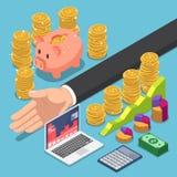 Ο Isometric επιχειρηματίας διαιρεί τα χρήματα για την αποταμίευση και την επένδυση ελεύθερη απεικόνιση δικαιώματος