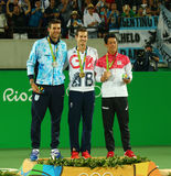 Ο Juan Martin Del Πόρτο ARG Λ, ο ολυμπιακός πρωτοπόρος Andy Murray GBR και Kei Nishikori JPN κατά τη διάρκεια των ατόμων ` s αντι Στοκ Εικόνες