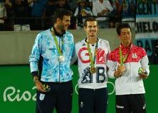 Ο Juan Martin Del Πόρτο ARG Λ, ο ολυμπιακός πρωτοπόρος Andy Murray GBR και Kei Nishikori JPN κατά τη διάρκεια των ατόμων ` s αντι Στοκ φωτογραφίες με δικαίωμα ελεύθερης χρήσης