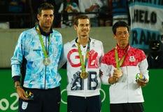 Ο Juan Martin Del Πόρτο ARG Λ, ο ολυμπιακός πρωτοπόρος Andy Murray GBR και Kei Nishikori JPN κατά τη διάρκεια των ατόμων ` s αντι Στοκ Φωτογραφία