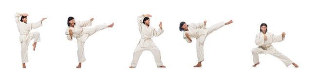 Ο karate μαχητής που απομονώνεται στο λευκό στοκ εικόνες με δικαίωμα ελεύθερης χρήσης