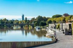 Ο Po ποταμός στο Τορίνο, Ιταλία Στοκ Φωτογραφία