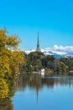 Ο Po ποταμός το φθινόπωρο, Τορίνο Στοκ Φωτογραφίες