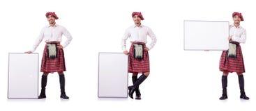 Ο scotsman με τον κενό πίνακα στο λευκό Στοκ φωτογραφίες με δικαίωμα ελεύθερης χρήσης