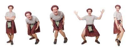 Ο scotsman που απομονώνεται αστείος στο λευκό Στοκ Εικόνες