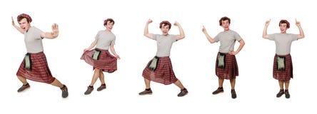 Ο scotsman που απομονώνεται αστείος στο λευκό Στοκ Φωτογραφία