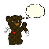 ο teddy Μαύρος κινούμενων σχεδίων αντέχει με το σχισμένο βραχίονα με τη σκεπτόμενη φυσαλίδα Στοκ Εικόνα