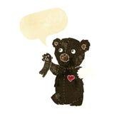 ο teddy Μαύρος κινούμενων σχεδίων αντέχει με το σχισμένο βραχίονα με τη λεκτική φυσαλίδα Στοκ Εικόνα