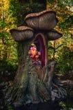 Ο troll βασιλιάς στο θρόνο του σε ένα δέντρο στο δάσος παραμυθιού Στοκ φωτογραφία με δικαίωμα ελεύθερης χρήσης
