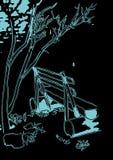 Πάγκος απεικόνισης κάτω από ένα δέντρο Διανυσματική απεικόνιση
