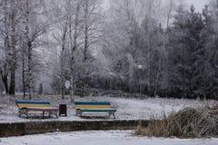 Πάγκος δύο κοντά στην παγωμένη λίμνη στοκ φωτογραφία με δικαίωμα ελεύθερης χρήσης