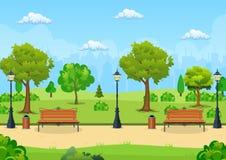 Πάγκος με το δέντρο και φανάρι στο πάρκο απεικόνιση αποθεμάτων