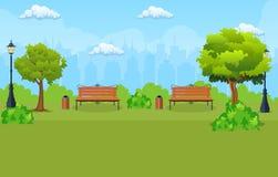 Πάγκος με το δέντρο και φανάρι στο πάρκο ελεύθερη απεικόνιση δικαιώματος