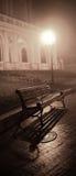 Πάγκος στην αλέα νύχτας με τα φω'τα Στοκ εικόνες με δικαίωμα ελεύθερης χρήσης