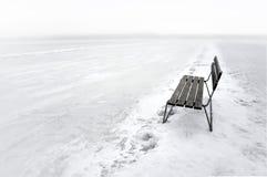 Πάγκος στην παγωμένη λίμνη Στοκ Εικόνες