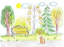 Πάγκος στο πάρκο Δεν υπάρχει κανένας, μόνο μια γάτα Στοκ φωτογραφίες με δικαίωμα ελεύθερης χρήσης