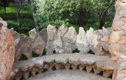 Πάγκος στο πάρκο Guell, που σχεδιάζεται από το Antonio Gaudi, Βαρκελώνη Ισπανία Στοκ εικόνες με δικαίωμα ελεύθερης χρήσης